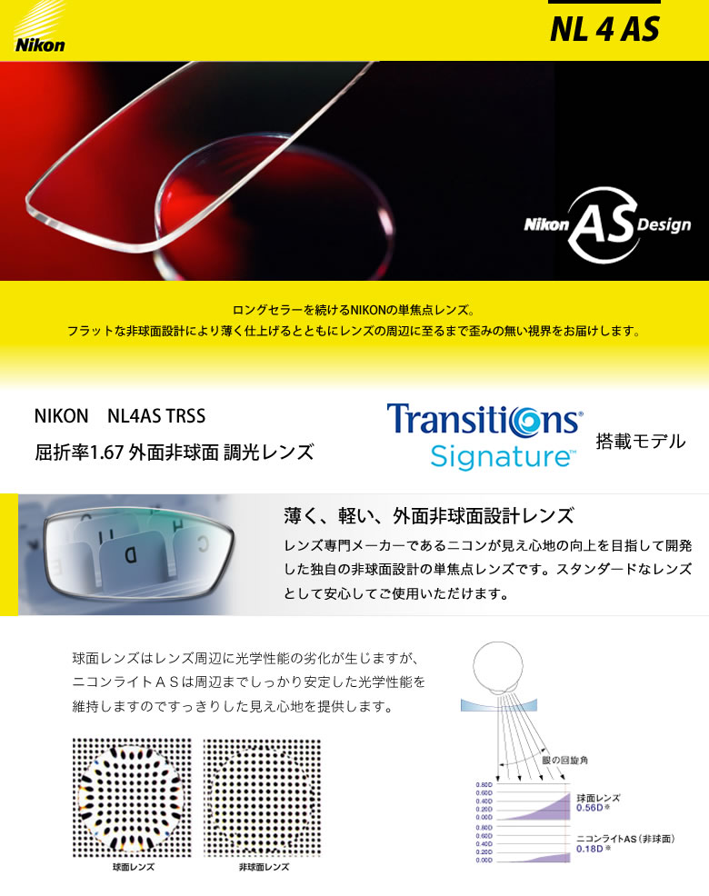 【NIKON】日本全国送料無料!!【コンビニ手数料無料】【ギフトバッグ無料】 NL4 AS TRSS NIKON (ニコン) レンズ トランジションズ シグネチャー 搭載 1.67 外面非球面 調光 度付き