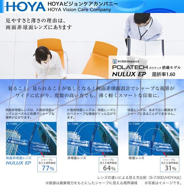 HOYA(ホヤ) 両面非球面メガネレンズ 「NULUX EP 1.60」 POLATECH搭載モデル