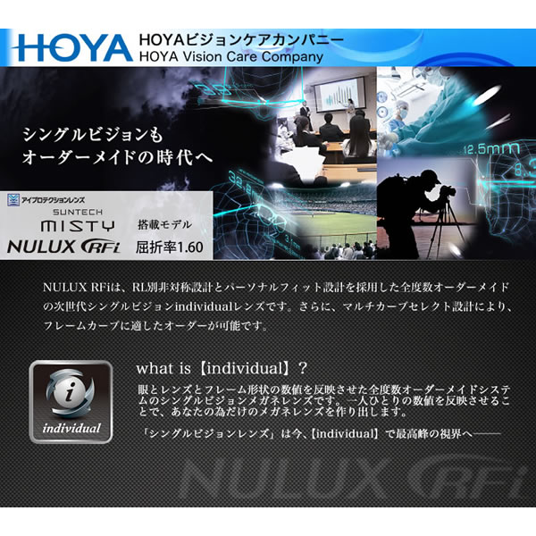 NULUX RFi 1.60 SUNTECH MISTY HOYA (ホヤ) レンズ サンテック ミスティ ニュールックス アールエフアイ 1.60 内面非球面 調光 度付き