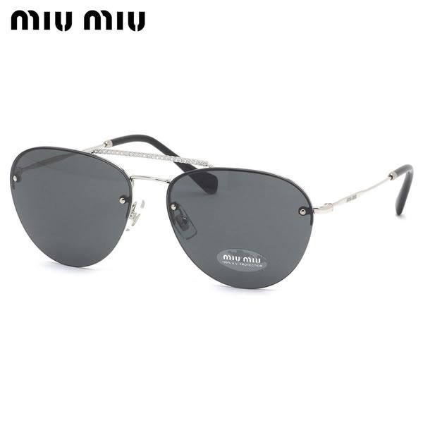 ミュウミュウ MIUMIU サングラス MU54US 1BC1A1 59サイズ ソシエテ ボストン ミウミウ 黒 クリスタル レトロ レディース