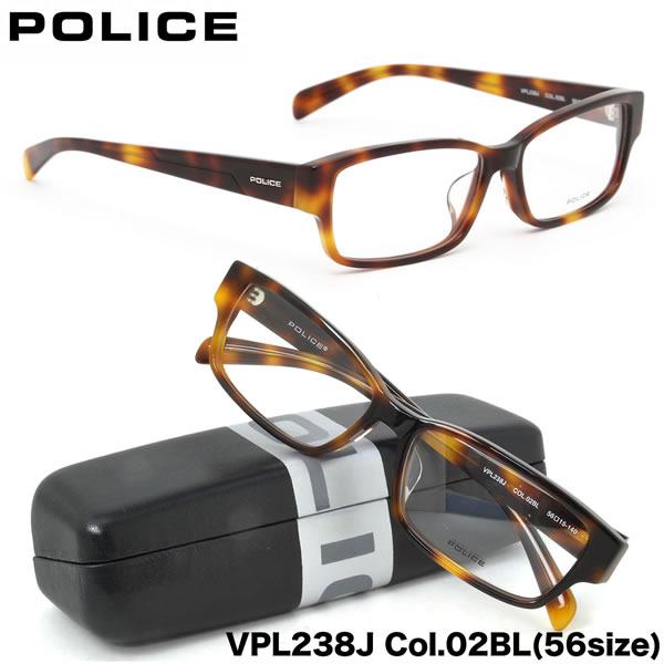 POLICE ポリス メガネ フレーム VPL238J 02BL 56サイズ スクエア ポリス POLICE メンズ レディース