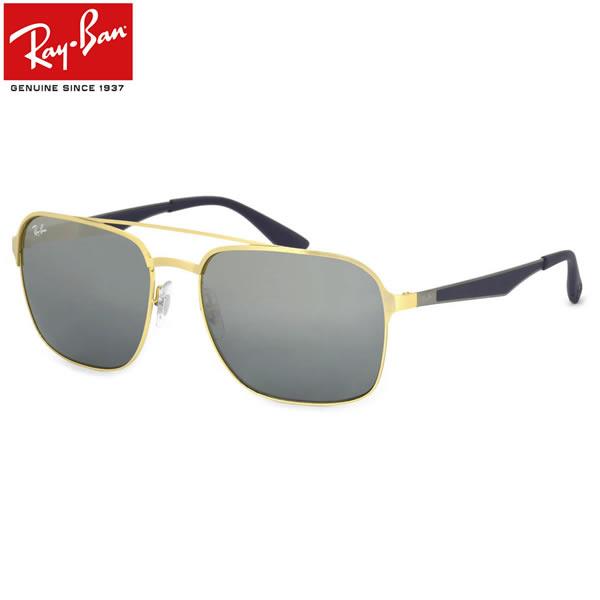 Ray-Ban レイバン サングラスRB3570 001/88 58サイズACTIVE LIFESTYLE アクティブライフスタイル ツーブリッジ ダブルブリッジ スクエア ミラー ミラーレンズ ラバー コンビネーションレイバン RayBan メンズ レディース