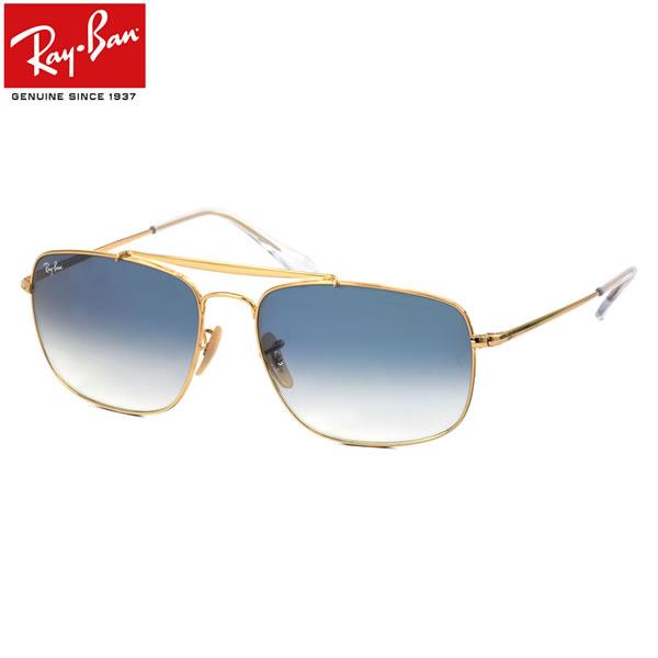 Ray-Ban レイバン サングラスRB3560 001/3F 58サイズ 61サイズCOLONEL コロネル 大佐 ツーブリッジ ダブルブリッジ ブルーレンズレイバン RayBan メンズ レディース