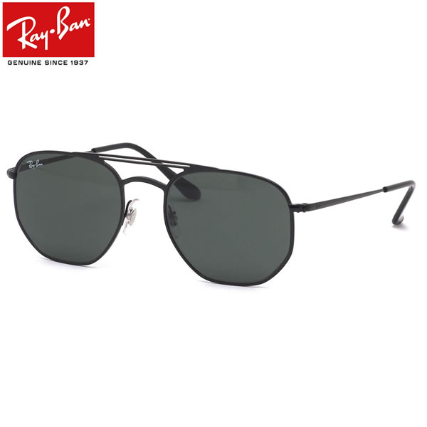 Ray-Ban レイバン サングラス RB3609 148/71 54サイズ 黒 グレーグリーン ヘキサンゴン 六角形 ダブルブリッジ おしゃれ レトロ メンズ レディース