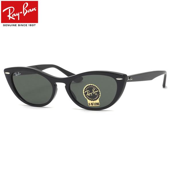 レイバン サングラス Ray-Ban RB4314N 601/31 54サイズ NINA ニーナ レディースモデル RayBan キャットアイ フォックス 黒 グレーグリーン G15