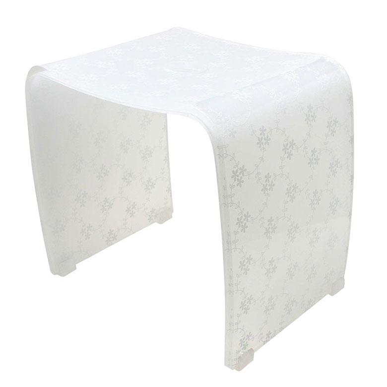 バスチェアー31型 アクリル製風呂椅子 【メルレット】白いレース模様の風呂いす(風呂いす/風呂イス)【メール便不可】【送料無料】