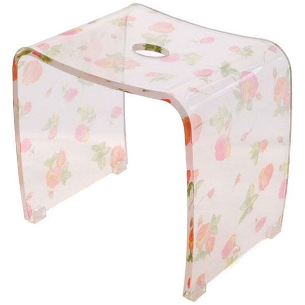 バスチェアー アクリル製風呂椅子 【シアーローズ】薔薇の花柄の風呂いす(風呂いす/風呂イス)【メール便不可】【送料無料】