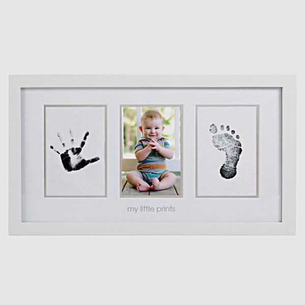 pearhead (0.001) baby print photo frames white