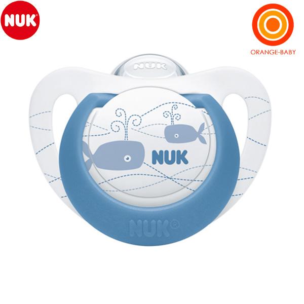 〈エントリーでポイントUP〉NUK セール ヌーク おしゃぶりジーニアス クジラ 6-18カ月 通常便なら送料無料 消毒ケース付