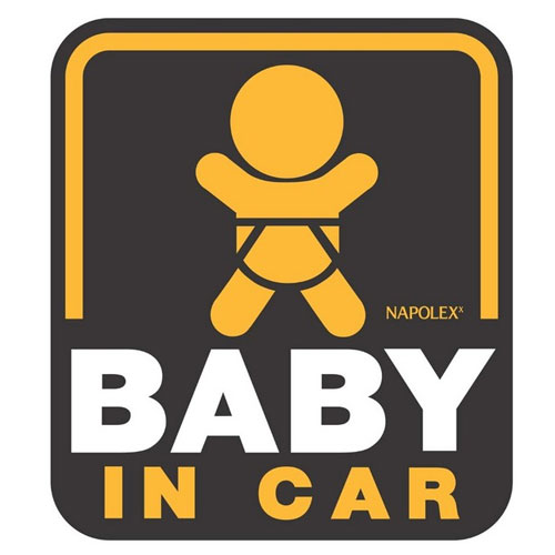 Napolex stickers (black square) in paste type BABY IN CAR SF-34.