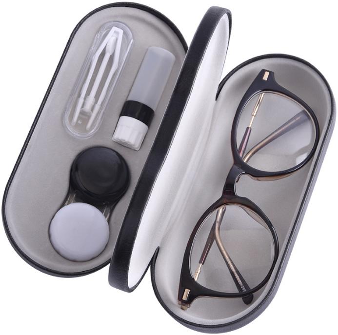 メガネとサングラスも収納できるコンタクトケース、カラコンケース コンタクトレンズケースセット&メガネケース サングラスケース宅配便送料無料