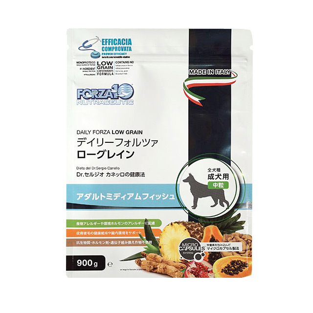 フォルツァ10 犬用 デイリーフォルツァ ミディアム フィッシュ 3kg(500g×6袋) 中粒 ★新技術マイクロカプセル製法で腸管吸収できる