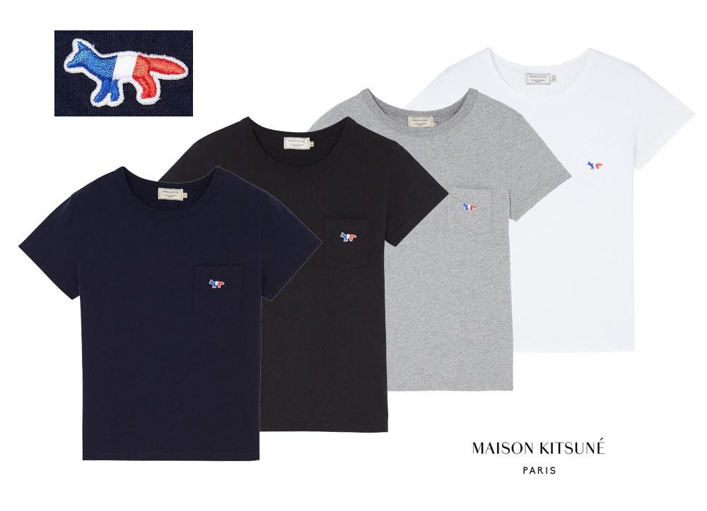 メゾンキツネ(MAISON KITSUNE)レディース Tシャツ TRICOLOR FOX PATCH トリコロール フォックス刺繍/ホワイト、ネイビー、ブラック、グレー【あす楽対応_関東】