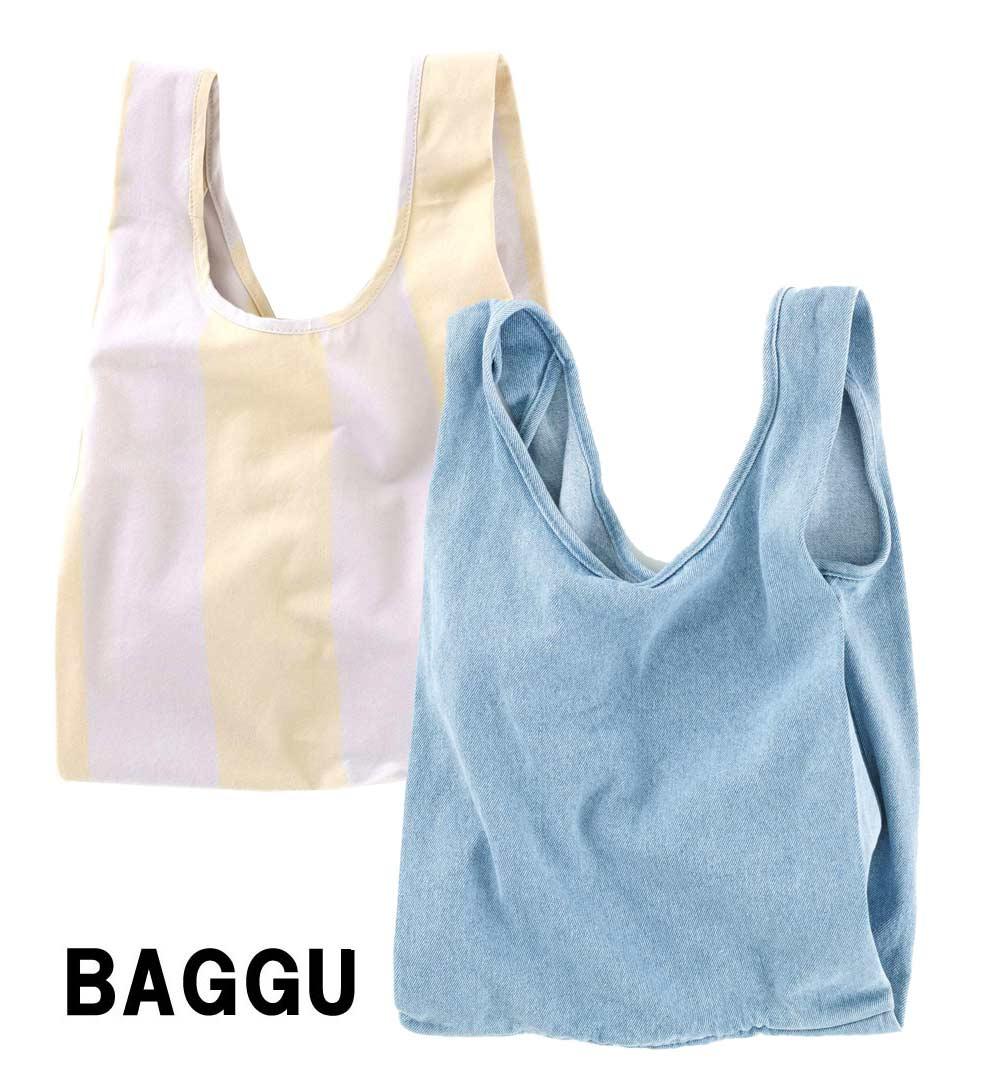 BAGGU(バグゥ)コットンエコバッグ/キャンバスショッパーバッグ/Medium Baggu/デニム、ストライプ/バグー【あす楽対応_関東】