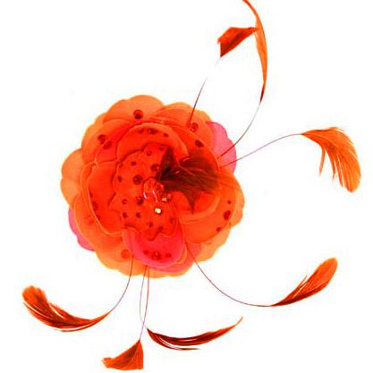 タリナタランティーノ(Tarina Tarantino)フェザー&ラージフラワーヘアクリップ/オレンジ【正規品】【あす楽対応_関東】02P28Sep16【あす楽_土曜営業】