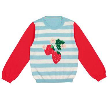 Cath Kidston kids (Cath Kidston) strawberry stripe pattern knit sweater