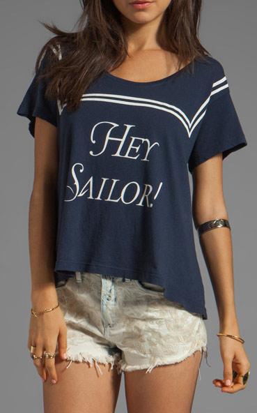 ワイルドフォックス(Wildfox)Heysailor!柄Tシャツ(ネイビー)セーラー服柄Tシャツ【正規品】【あす楽対応_関東】02P28Sep16【あす楽_土曜営業】