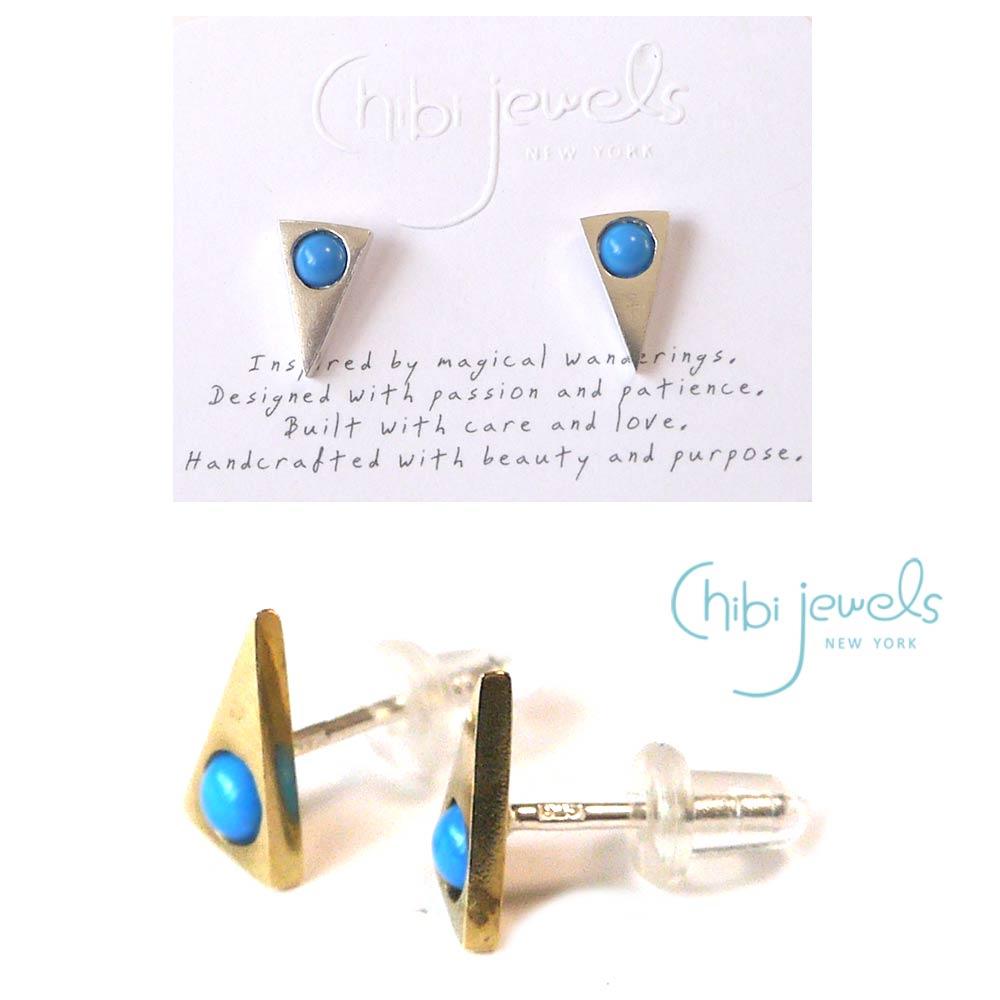 Chibi Jewels(チビジュエルズ)ターコイズ トライアングルピアス/三角ピアス/Turquoise Triangle Stud Earrings/E186【あす楽対応_関東】