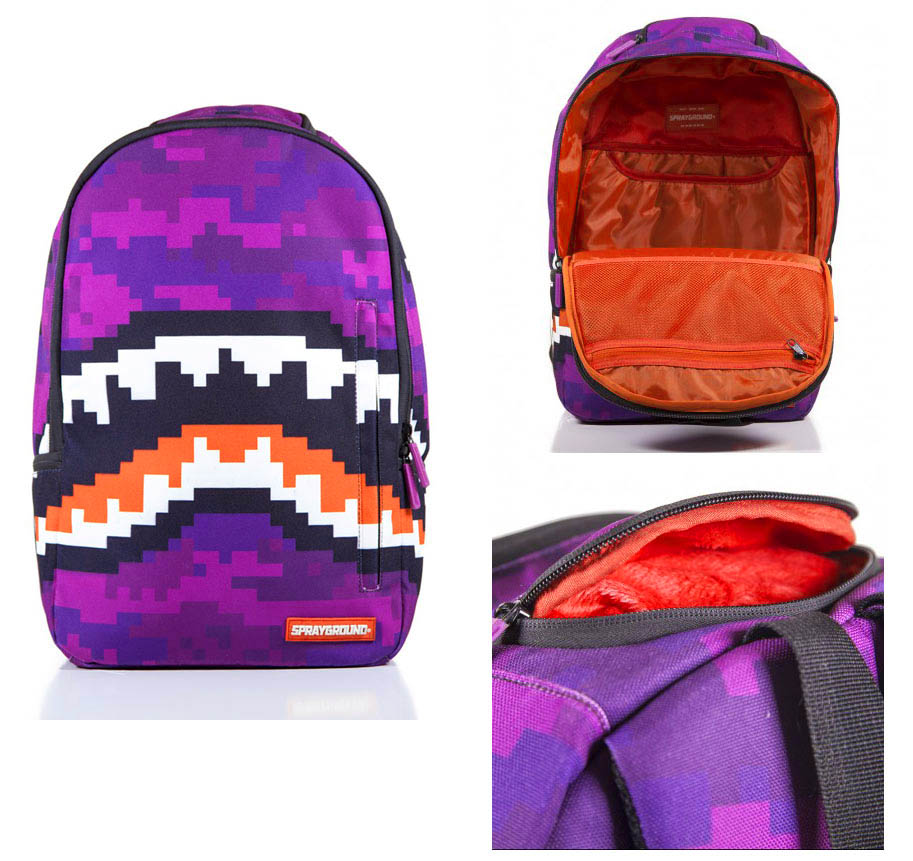 Sprayground Pixel Shark Backpack (purple) fs04gm
