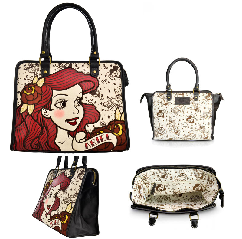 Lounge Fried Food Loungefly Little Mermaid Ariel Toe Roux Love 2way Shoulder Bag Tote Fs3gm