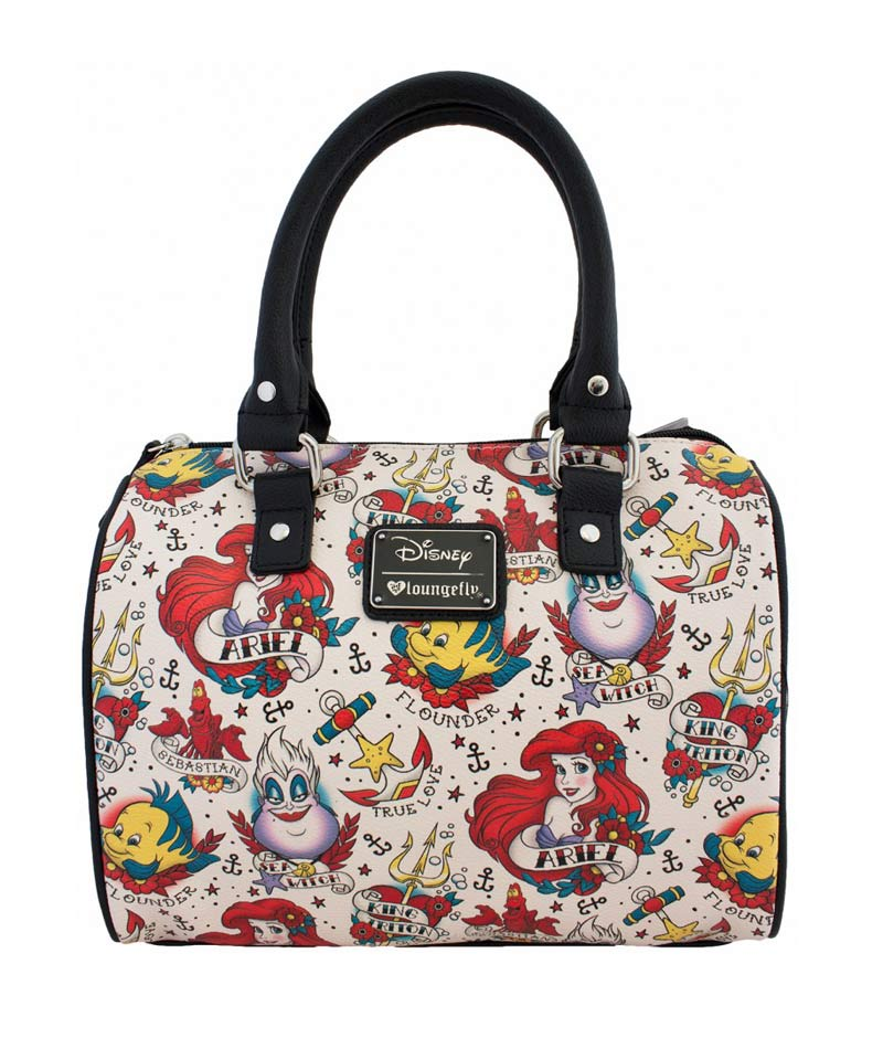 Loungefly Disney Ariel Tattoo Print Pebble Crossbody Duffle