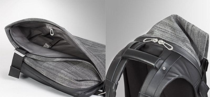Cote&Ciel Isar Rucksack Herringbone Weave and Leather Concrete Herringbone P27Mar15