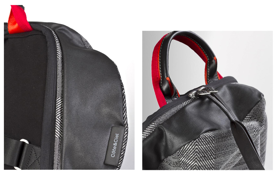 Cote&Ciel Moselle Herringbone Weave and Leather Backpack P27Mar15
