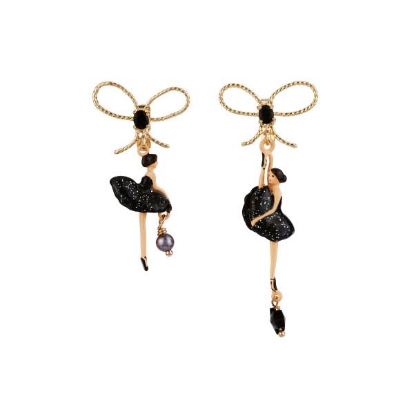 Les Nereides Black asymmetrical glittered ballerina earrings