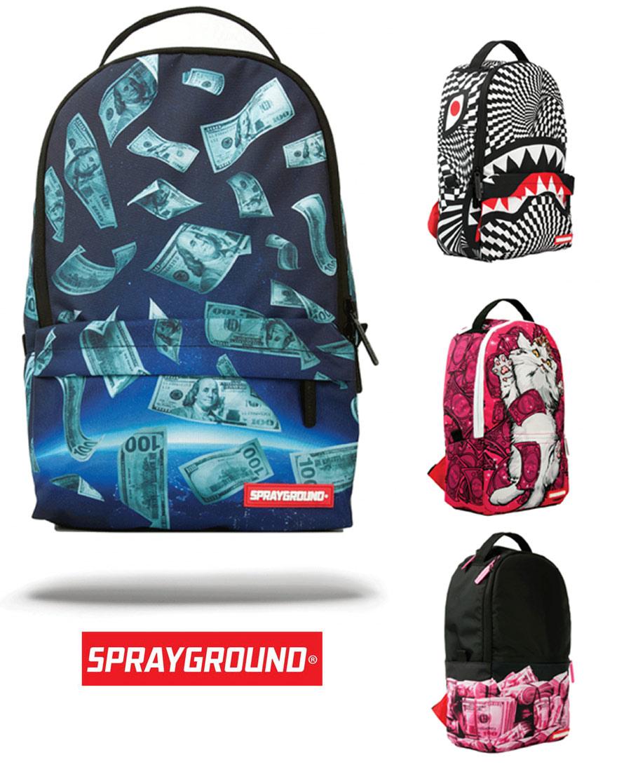 Sprayground MINI SPACE MONEY/TRIPPY SHARK/KITTEN MONEY/PINK MONEY ROLLED