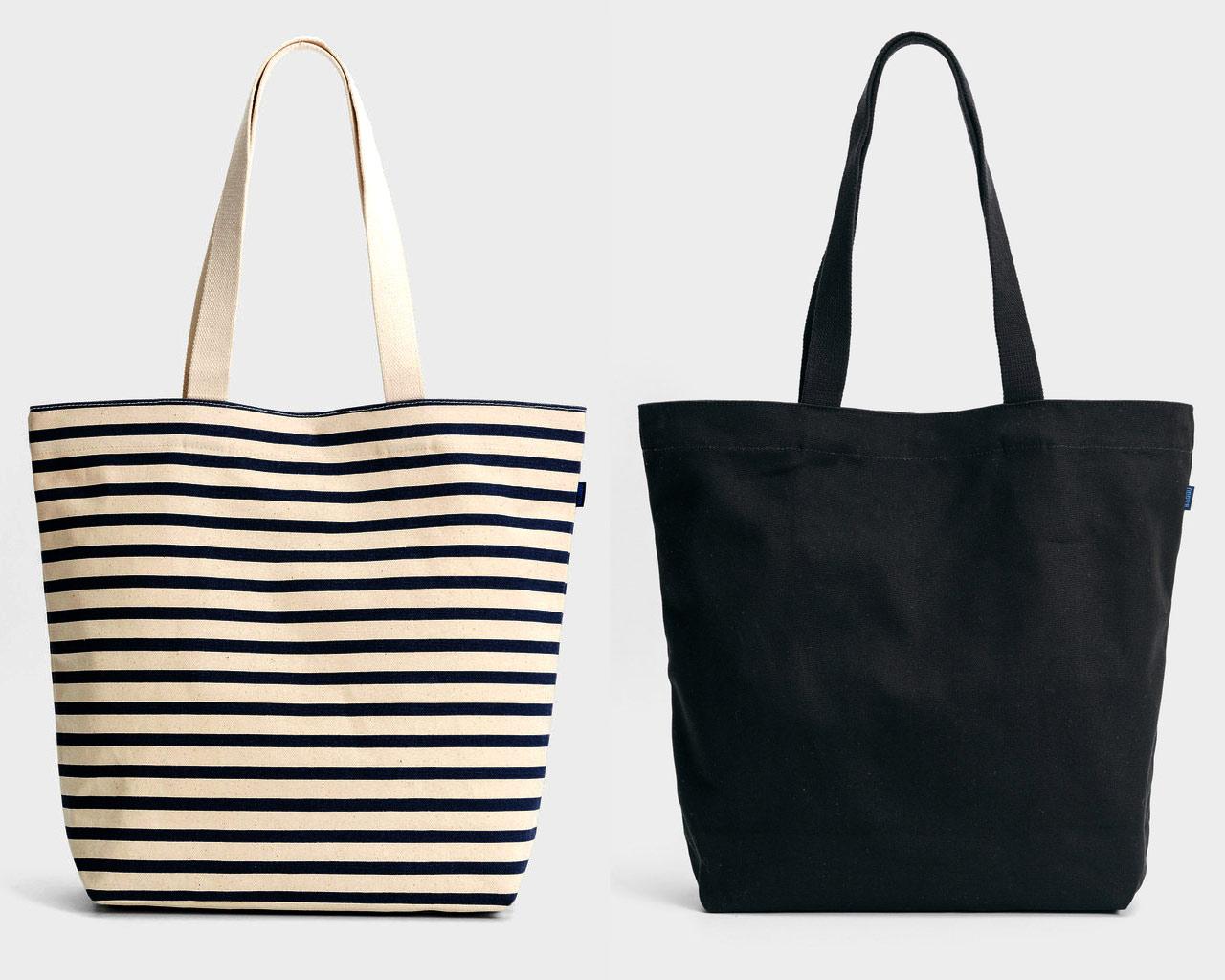 Baggu バグゥ Tote Bag Canvas Shopper Bag Canvas Shopper Bag Horizontal Stripes Black Bug