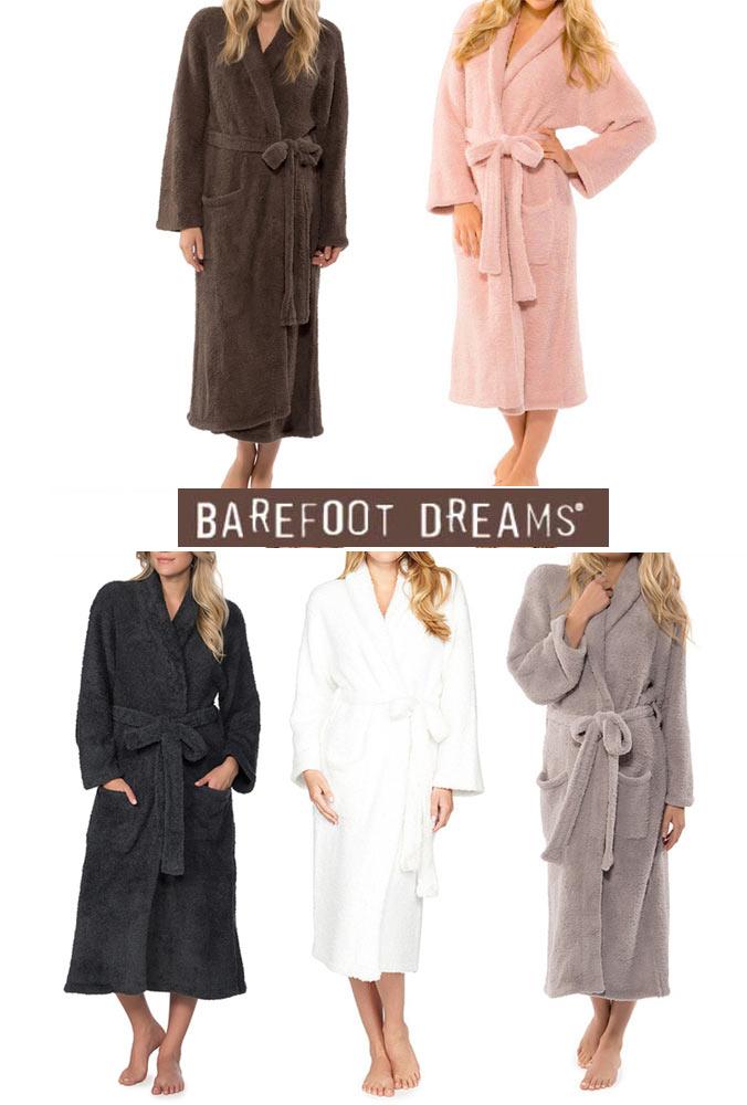ベアフットドリームス(Barefoot Dreams)バスローブ/cozychicロングガウン/ブラウン、ピンク、ダークブルー、ホワイト、グレー【あす楽対応_関東】