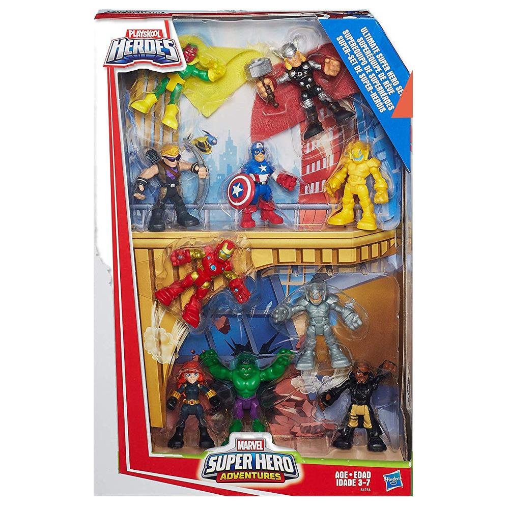 マーベル スーパーヒーローフィギュア10体セット アクションフィギュア Playskool Heroes Marvel Super Hero Adventures 宅配便送料無料