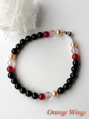 Onyx and carnelian 6 mm bracelet