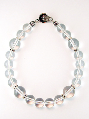 Natural quartz bracelet large Pearl 10 mm & 8 mm