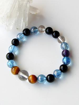 Power Stone bracelets on 8 mm Onyx Tiger eye Aqua aura [Amethyst with]