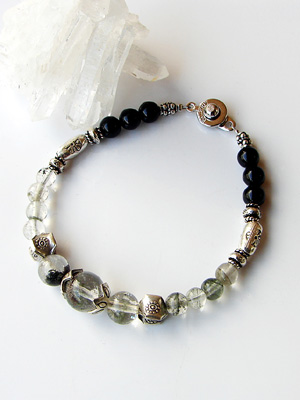 Karen silver & premium Himalayan Crystal bracelet