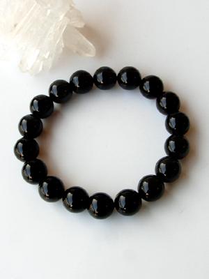 高品質 黒水晶(モリオン) 大粒10mm珠 ブレスレット