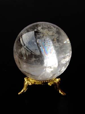 天然 レインボー水晶 特大 丸玉原石 (直径5.0cm) 重量150g / 水晶宝珠 レインボークォーツ(虹色水晶) 高品質