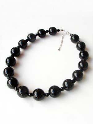 高品質 ブラックオニキス18mm珠 超大粒ネックレス パワーストーン・アクセサリー