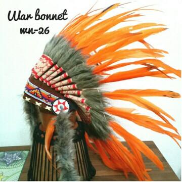 ウォーボンネット 羽根かんむり wn-26 ハロウィン オレンジ ネイティブ インディアン 帽子・コスプレ 羽根飾り パーティー