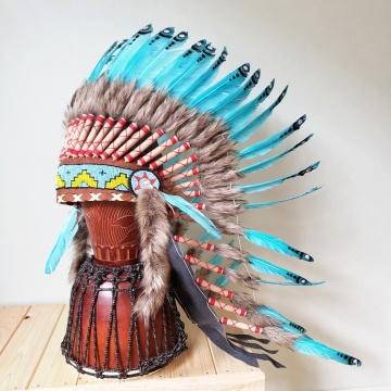 ウォーボンネット 羽根かんむり ロング 水色 ネイティブ インディアン 羽根冠 羽根飾り 帽子・コスプレ ハロウィン