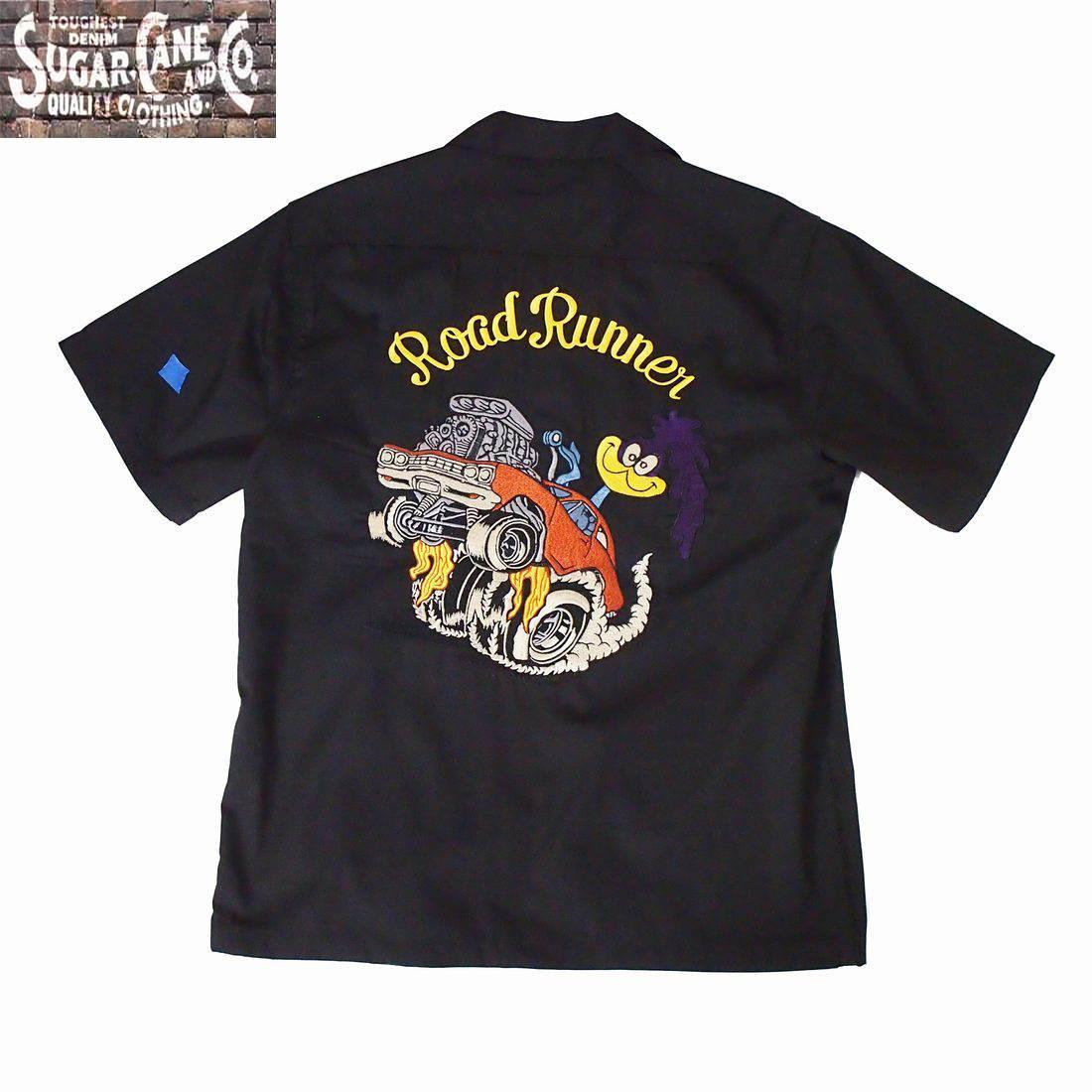 半袖シャツ SUGAR CANE/シュガーケーンロードランナー S/Sワークシャツ 「ロードランナー」S M Lサイズ ブラック メンズ 【送料無料】【あす楽】