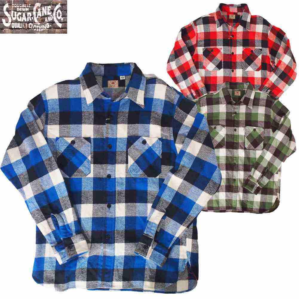ワークシャツ SUGAR CANE/シュガーケーンツイル チェック L/S  ワークシャツ S M Lサイズ 3カラー メンズ 【Japan Made Product】【送料無料】【あす楽】