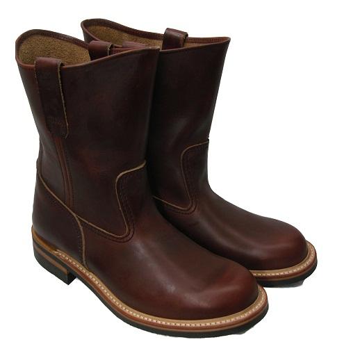 ワークブーツ LONE WOLF BOOTS/ロンウルフブーツ「FARMER/ファーマー」ブラウン 25~27.5cm 【Japan Made Product】【送料無料】