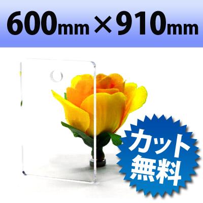アクリル板(キャスト板) 透明-600mm× 910mm  厚み15mm