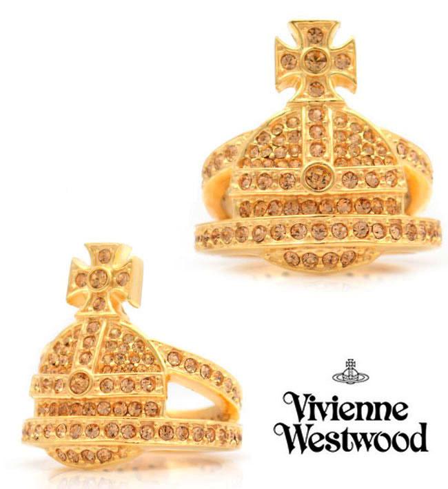 【おまけ付き】ヴィヴィアンウエストウッド クリスタルオーブゴールド2連リング/指輪(Vivienne Westwood)【あす楽対応_関東】