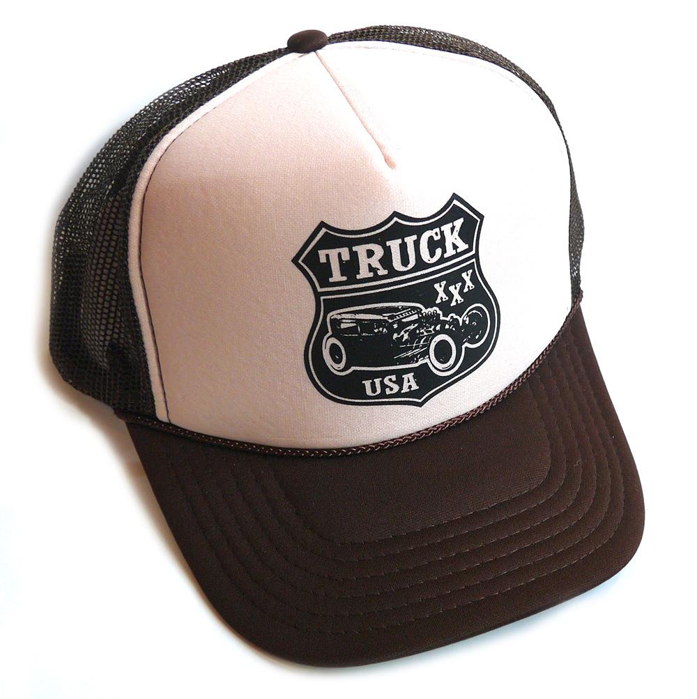 トラックブランド Truck 5%OFF Brand SKID-MESH あす楽対応_関東 カー柄メッシュキャップ ロゴ 国内正規総代理店アイテム ブラウン×ベージュ