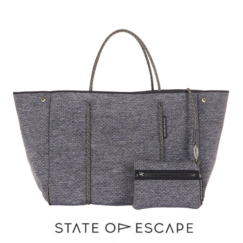 State of Escape(ステイトオブエスケープ)ESCAPE bag in LUXE charcoal marle/トートバッグ ポーチ付き/ネオプレンバッグ/LUXEチャコールマール/マザーズバッグ/グレー【あす楽対応_関東】