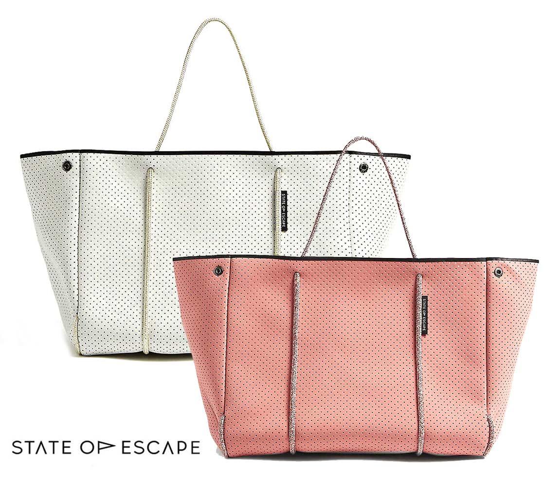 State of Escape(ステイトオブエスケープ)ESCAPE BAG/トートバッグ ポーチ付き/ネオプレンバッグ/マザーズバッグ/ピンク、アイボリー【あす楽対応_関東】
