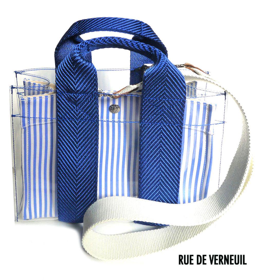 Rue De Verneuil(リュ ドゥ ヴェルヌイユ)2Wayプールトートバッグ/LadyTote/POOL/ブルーストライプ【あす楽対応_関東】